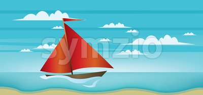 Abstract landscape with red boat, blue sea, white clouds and seashore Stock Vector