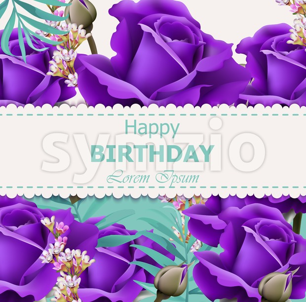 Happy Birthday violet roses background Vector. Vintage floral decor