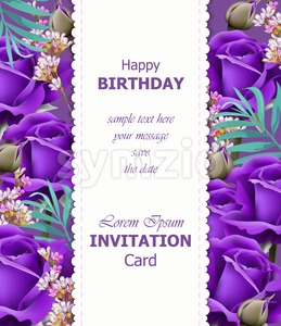 Happy Birthday violet roses background Vector. Vintage floral decor Stock Vector