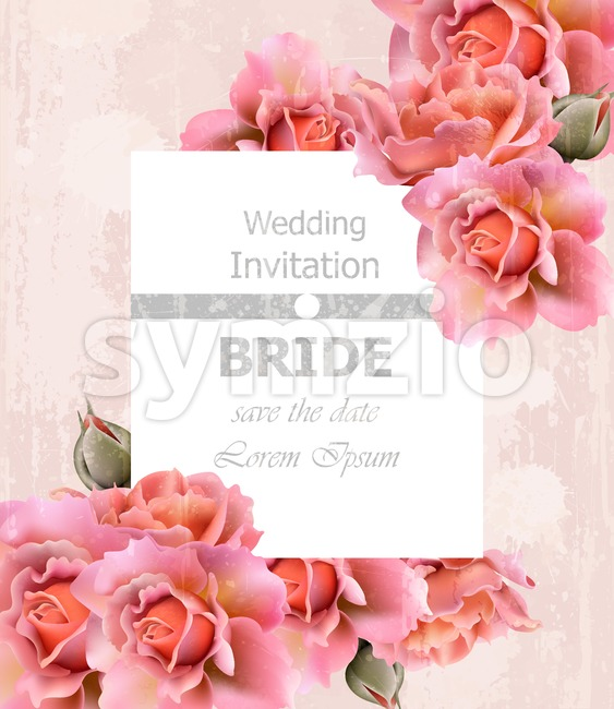 Wedding Invitation roses card Vector. Floral frame delicate decor