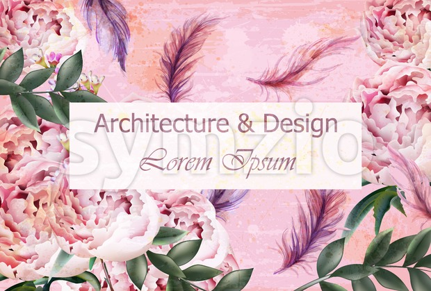 Architecture and design creative card Vector. Flowers and feathers decoration background. Pink delicate color Stock Vector
