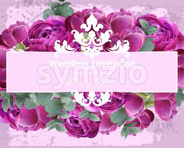 Wedding Invitation Peonies bouquet Vector. Vintage floral decor violet color Stock Vector