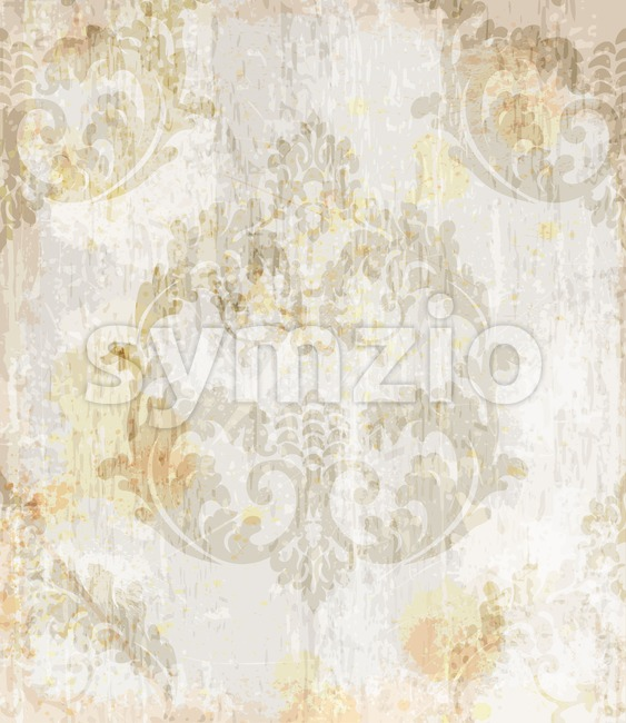 Vintage Baroque pattern background Vector. Ornamented texture luxury design. Royal textile decor light cream color Stock Vector