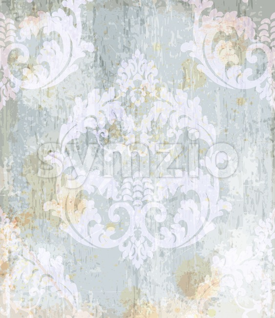 Vintage Baroque pattern background Vector. Ornamented texture luxury design. Royal textile decor light blue color Stock Vector