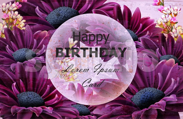 Happy Birthday daisy flowers card Vector. Floral decor background Stock Vector
