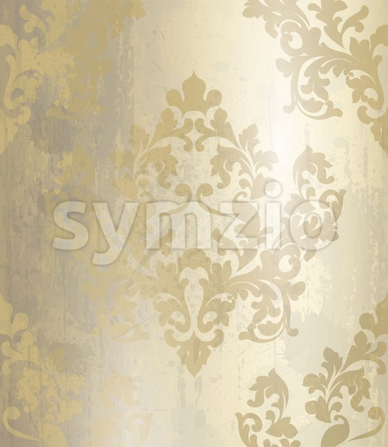 Vintage Baroque pattern background Vector. Ornamented texture luxury golden design. Royal textile decor Stock Vector