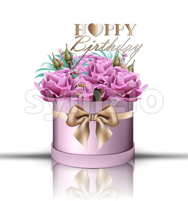 Happy Birthday roses bouquet Vector. Vintage floral gift box violet color