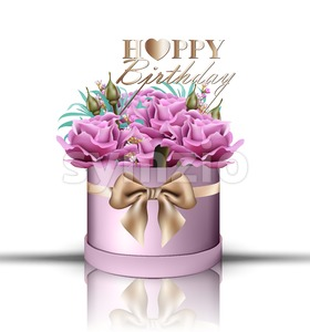 Happy Birthday roses bouquet Vector. Vintage floral gift box violet color Stock Vector