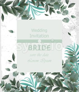 Wedding invitation Vector frame. beautiful round wreath with green leaves decor Stock Vector