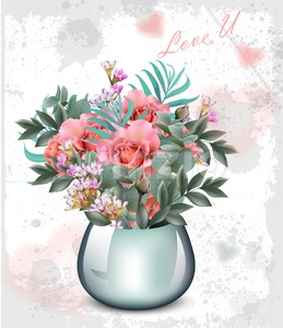 Wedding bouquet Vector. Vintage floral decor abstract design Stock Vector