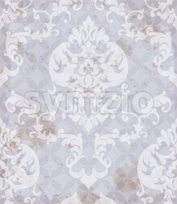 Vintage Baroque pattern background Vector. Ornamented texture luxury design. Royal textile decor lavender color Stock Vector