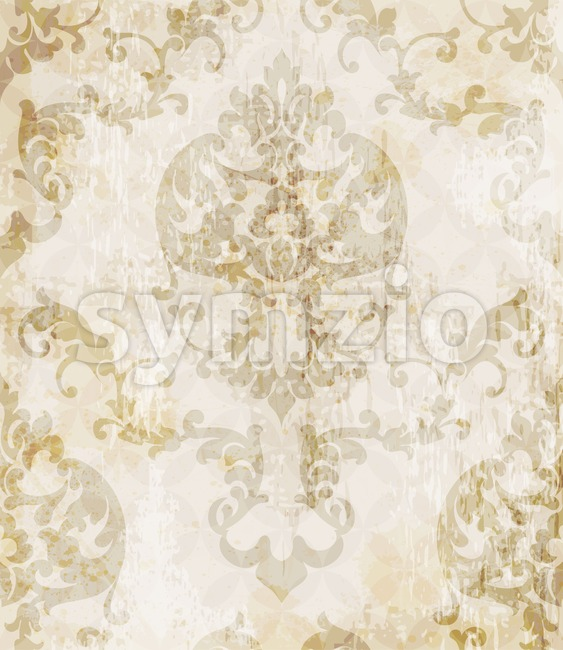 Vintage Baroque pattern background Vector. Ornamented texture luxury design. Royal textile decor beige color Stock Vector