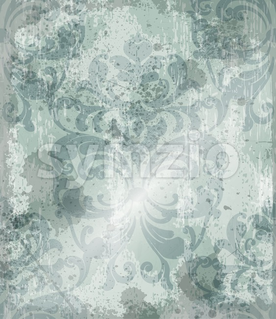 Vintage Baroque pattern background Vector. Ornamented texture luxury design. Royal textile decor green color Stock Vector