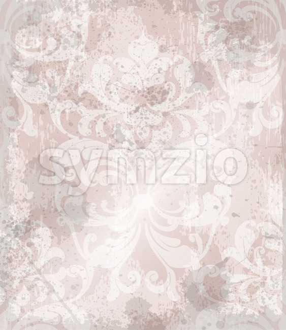 Vintage Baroque pattern background Vector. Ornamented texture luxury design. Royal textile decor pink powder color Stock Vector