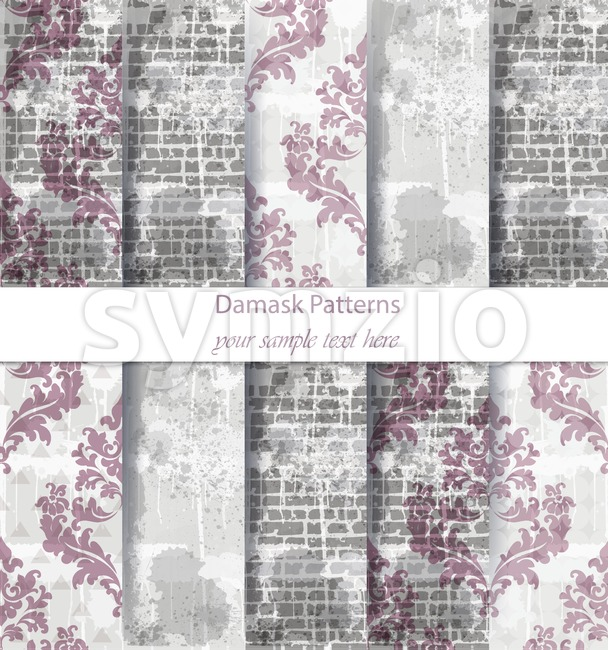 Vintage Damask patterns set collection Vector. Classic ornament various colors with abstract background textures. retro decor. Trendy color fabric Stock Vector