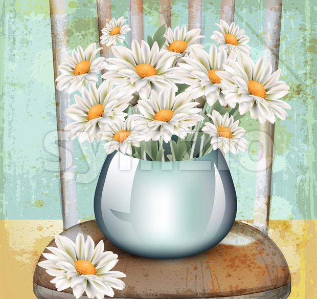 Vintage chamomile bouquet Vector. Spring floral decor on old grunge background