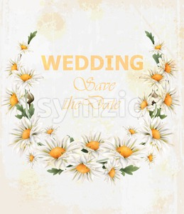 Chamomile flowers Wedding wreath card Vector. Beautiful spring frame vintage style Stock Vector