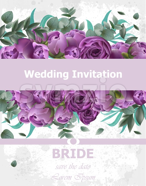 Wedding Invitation Peonies bouquet Vector. Vintage floral decor violet color