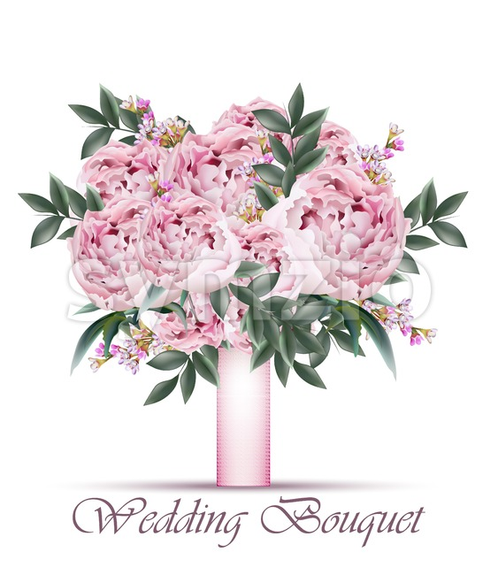 Peonies Wedding bouquet Vector. Vintage floral decor pastel pink color Stock Vector