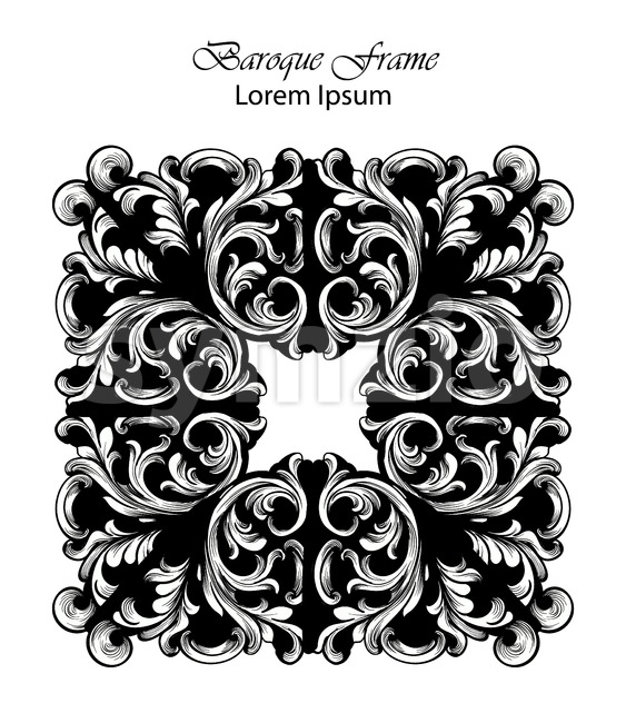 Square Frame Vector. Classic rich ornamented carved decors. Baroque sophisticated design