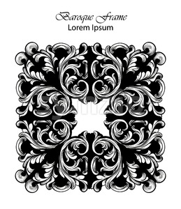 Square Frame Vector. Classic rich ornamented carved decors. Baroque sophisticated design Stock Vector