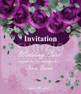 Wedding invitation card with purple violet roses decor design Stock Vector