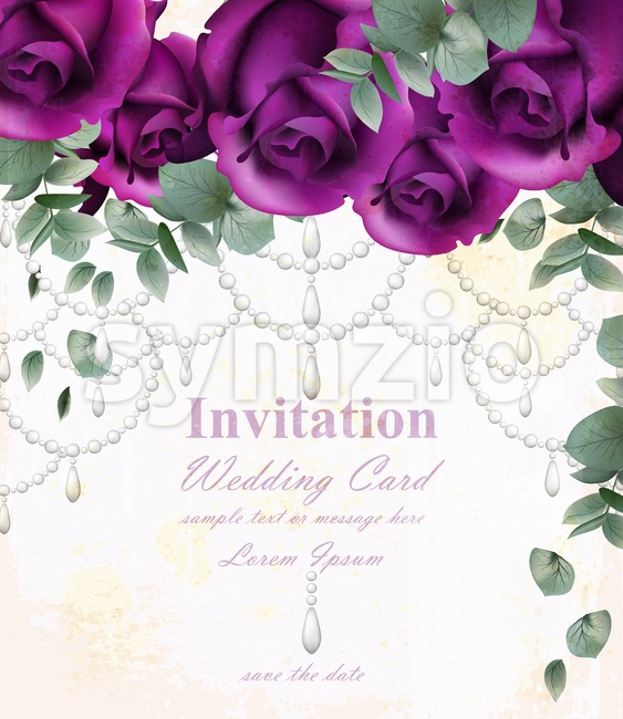Wedding invitation card with purple violet roses and precious stones Stock Vector