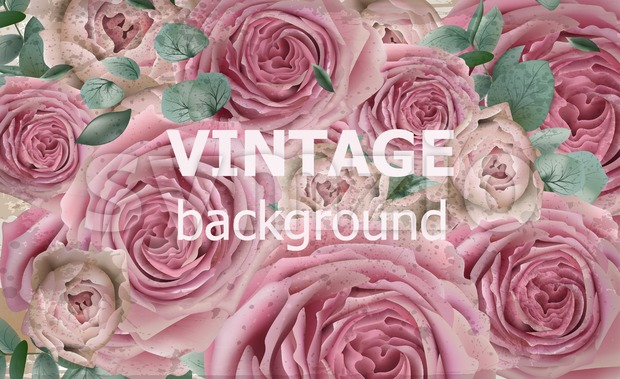 Vintage beauty background with roses Vector. Excellent vintage card floral 3d wallpaper Stock Vector