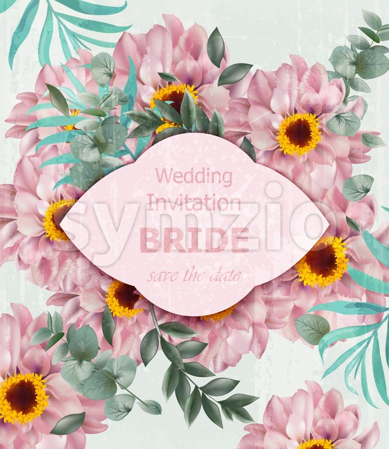 Vintage Wedding invitation with daisy flowers Vector. Beautiful card background illustration Stock Vector