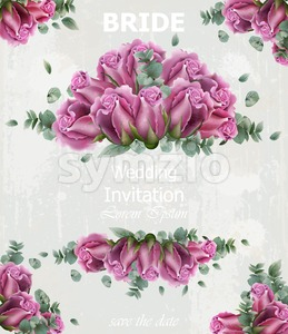 Wedding invitation with roses Vector. Beautiful card floral 3d background Stock Vector