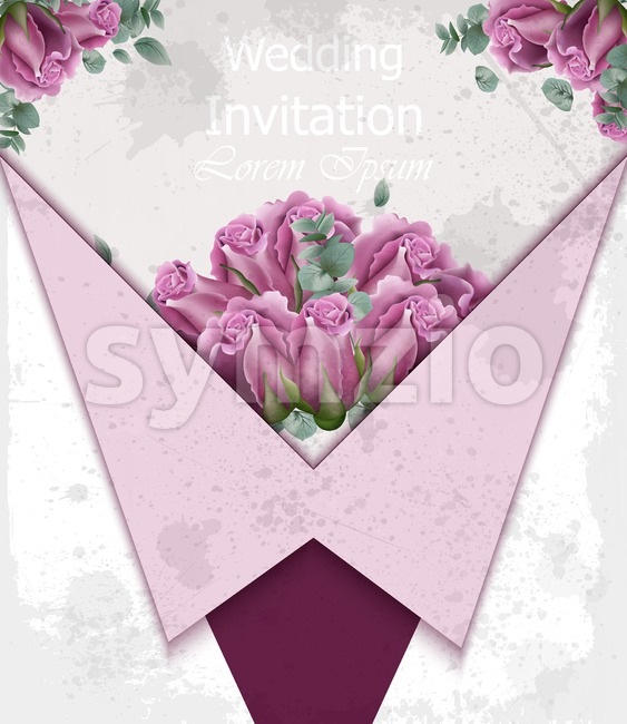Wedding invitation with roses Vector. Beautiful card floral 3d background