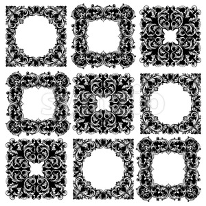 Frame collection set Vector. Classic rich ornamented carved decors. Baroque sophisticated design Stock Vector