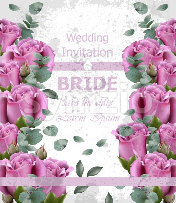 Wedding invitation with roses Vector. Beautiful vertical card floral 3d background Stock Vector