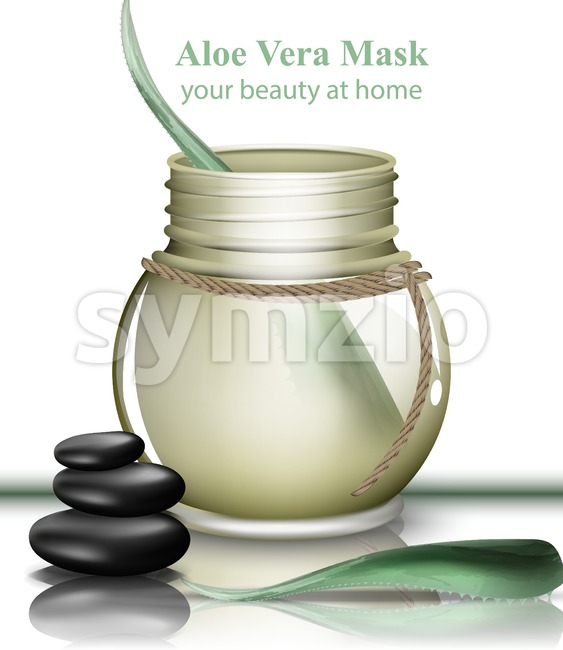 Aloe vera organic cosmetics cream Vector. Lotion product realistic mock up. packaging bio label design