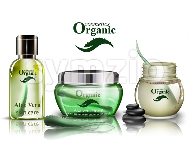 Aloe vera organic cosmetics set Vector. Lotion and shower gel realistic mock up. Product packaging bio collection