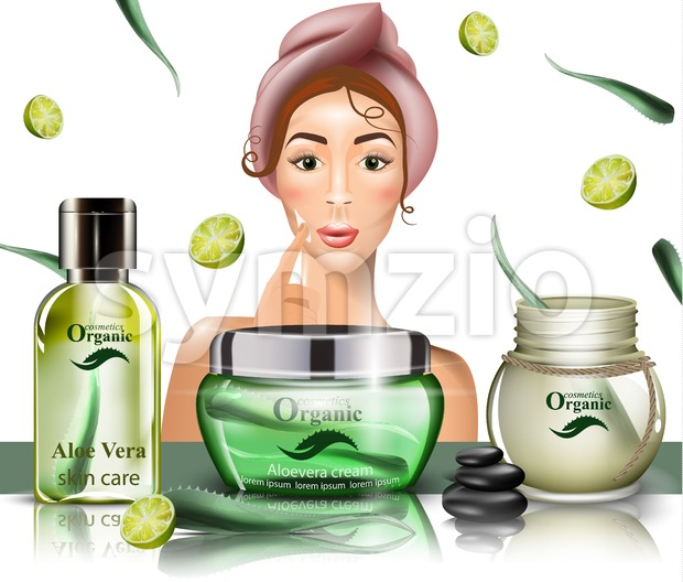 Woman using cream lotion on her face Vector. Realistic beauty products set. template design packaging mock up