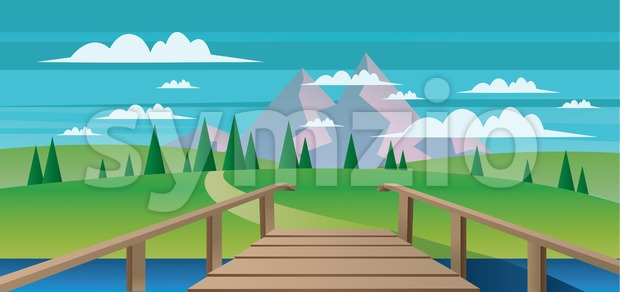 Abstract landscape with a river, wooden bridge and green fields with mountains. Digital vector image