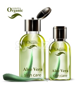 Aloe vera organic cosmetics set Vector. Lotion and shower gel realistic mock up. Product packaging bio collection Stock Vector