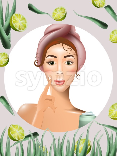 Woman using cream lotion on her face Vector. Realistic beauty product. Icon template design packaging mock up
