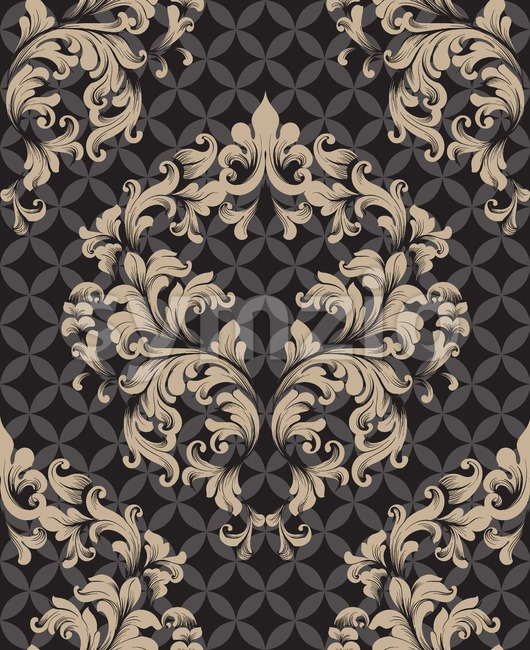 Vintage Damask Seamless pattern Vector. Luxury ornament elegant structure retro theme decors. dark color Stock Vector