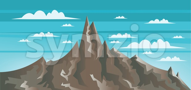 Abstract landscape with brown mountains, white clouds and blue sky. Digital vector image