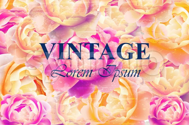 Vintage floral background Vector. Colorful retro rose flowers design