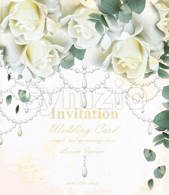 Beautiful wedding invitation with white roses flowers. Luxurious watercolor floral Vector card. Vintage jewellery decor design Stock Vector