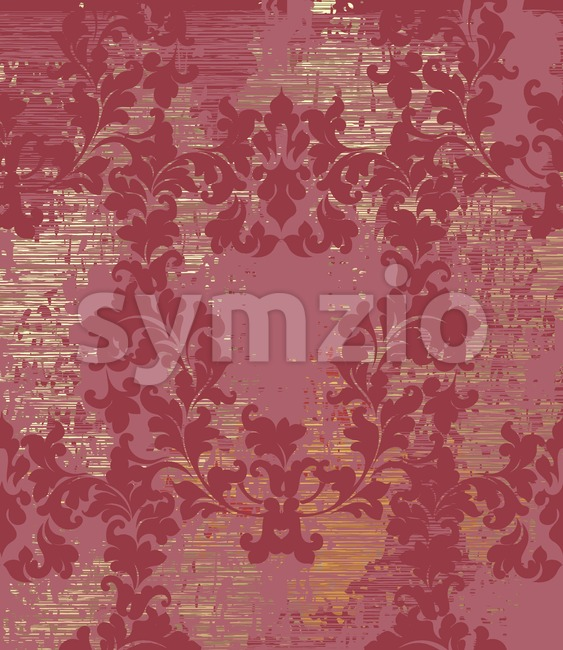 Vintage Baroque texture pattern Vector. Wallpaper ornament decor. Textile, fabric, tiles. Red wine color Stock Vector