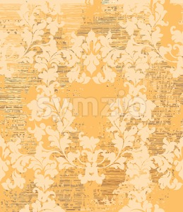 Vintage Baroque texture pattern Vector. Wallpaper ornament decor. Textile, fabric, tiles. golden color Stock Vector