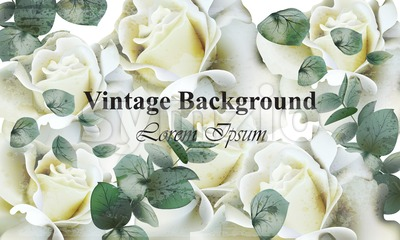 Vintage white roses background Vector. Retro floral design Stock Vector
