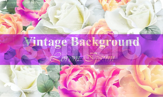 Vintage floral background Vector. Colorful retro rose flowers design Stock Vector