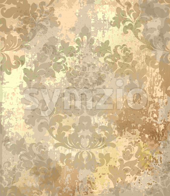 Vintage Baroque texture pattern Vector. Luxury wallpaper ornament decor. Textile, fabric, tiles. Golden color trendy Stock Vector