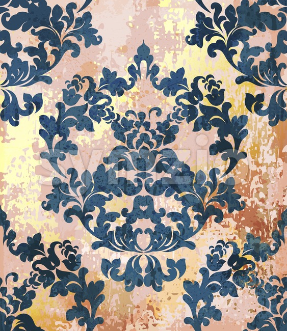 Vintage Baroque texture pattern Vector. Luxury wallpaper ornament decor. Textile, fabric, tiles. Royal blue trendy color Stock Vector