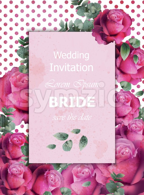 Wedding invitation card Vector. Beautiful roses floral frame vertical. Banner poster template 3d background